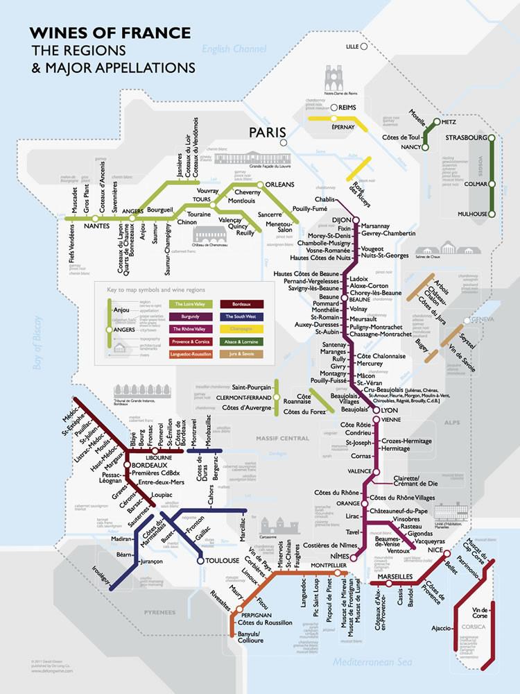 La carte des vins de France à la façon d'un plan de métro