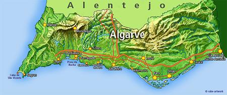 Carte de l'Algarve