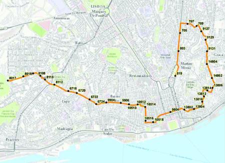 Parcours tramway 28 Lisbonne