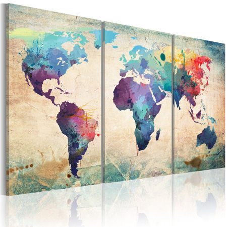 impression sur toile de la carte du monde