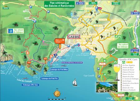Plan des sentiers des Calanques de Cassis